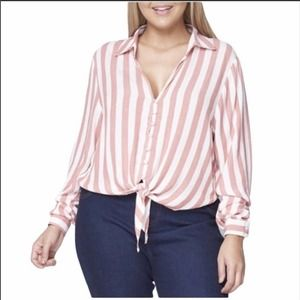 Long sleeve button front striped 2X 3X